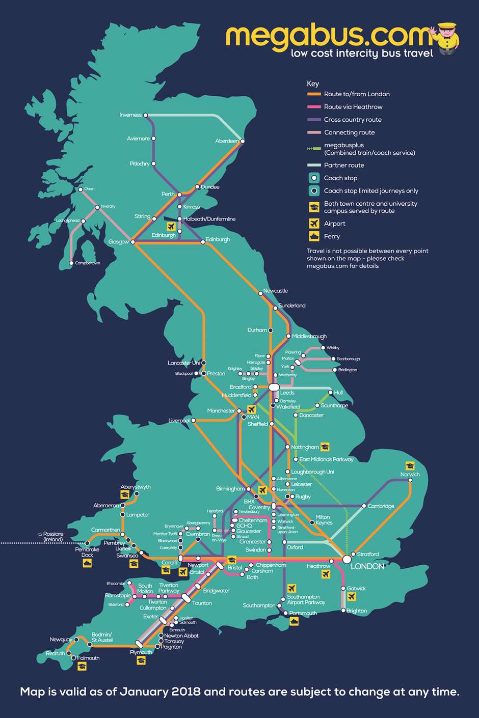 Megabus Network Map 2018